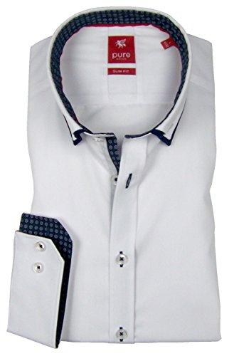 Pure Hemd Slim Fit Double Button Down Patch weiß 3569 568 900, Größe XL
