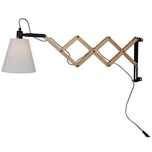 Wandleuchte aus Birkenholz mit Ziehharmonika-Arm | Scherenwandleuchte im skandinavischen Design | Wandlampe inkl. Leuchtmittel
