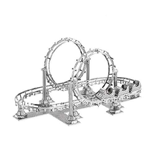Achterbahn handgemachte kreative Metall montiert Modell Spielzeug Kit DIY 3D Laser geschnittene Puzzle Spielzeug Silber + Werkzeug A + B Einheitsgröße (Metall-achterbahn)