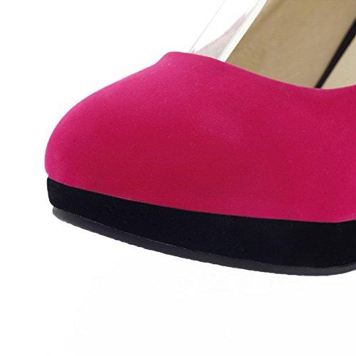 VogueZone009 Donna Tacco A Spillo Plastica Colore Assortito Tirare Punta Tonda Punta Chiusa Ballerine Rosa