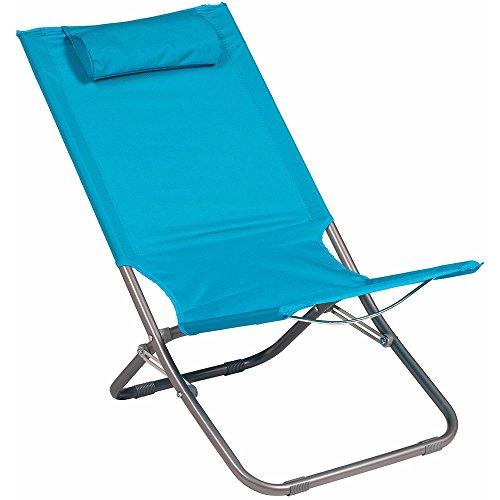 Spiaggina sedia a sdraio da mare campeggio giardino - pieghevole con cuscino per appoggio testa - tubo diametro 22mm (celeste)