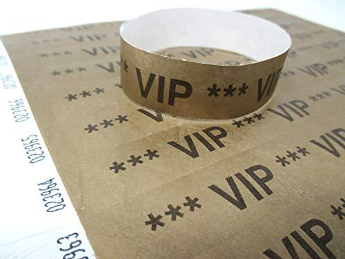 TYVEK® (DuPontTM) VIP Einlassbänder VIP Kontrollbänder VIP Eintrittsbänder 50 Stück - Gold - Tyvek Einlassbänder Eintrittsbänder Kontrollbänder in bunten Farben: Eintrittsbänder Partybänder Partybändchen Einlassbänder Securebänder aus Tyvek - twist4®