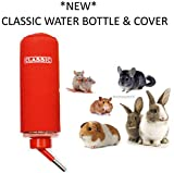 *NEW* CLASSIC 600ML LARGE DRINKING WATER BOTTLE SMALL ANIMAL RABBIT GUINEA PIG W/COVER