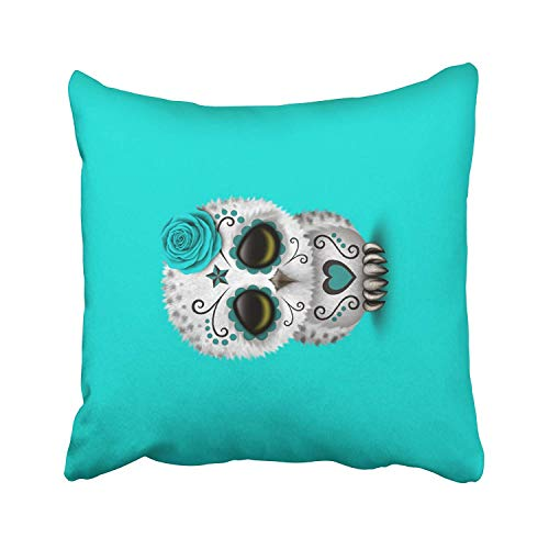 Accent Cute Teal Day of The Dead Sugar Skull owl Blue Cushions CaseFor Sofa Home Decorative Pillowslip Gift Ideas Household Pillowcase Zippered Pillow Covers 18X18Inch