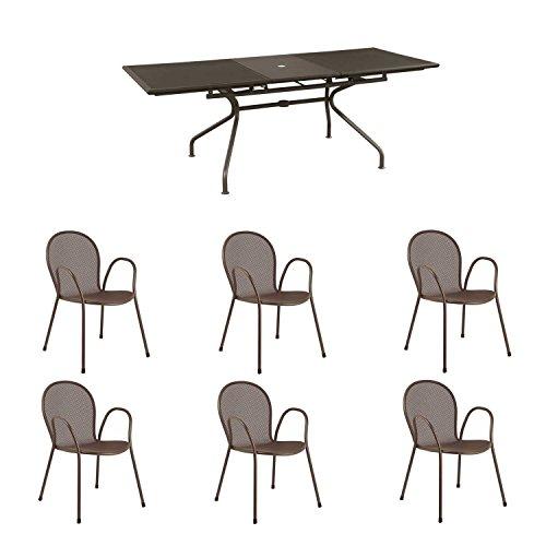 Offerta emu set tavolo athena allungabile 230/300x100 + 6 poltrone ronda marrone india