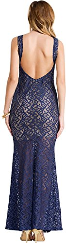 Jeansian Femmes Fashion Sexy Lady Robe Womens Temperament Lace Cocktail Parti Dress WHS038 Navy