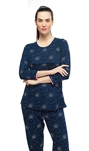 e98b78c92d ZEYO Women s Cotton Navy Blue Feeding Night Suit