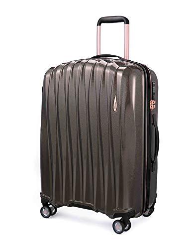Verage Hartschalen-Koffer Glitter (L-28-76×51×31cm) 106-127 Liter erweiterbar,Dunkel Koffee, 4 Rollen S-PET Trolley, TSA-Schloss integriert