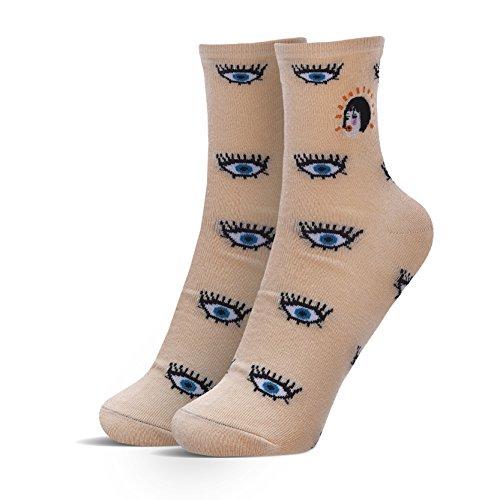ZZ Socks Di Cotone Occhi Ricamati Arancio Calze Fumetto Delle Donne