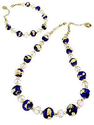 Venetiaurum - Set Composé De Collier Et Bracelet Avec Perles En Verre Original De Murano Et Argent 925 Plaqué Or 18 ct -