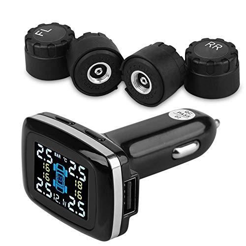 Reifendruck kontrollsystem Auto TPMS Reifendruck Kontrollsystem Solar Panel USB Kabel mit 4 Sensoren, 6 Alarm LCD Display Temperatur Anzeige für Auto, SUV, KFZ
