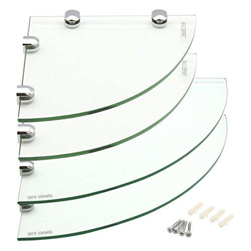 Harbour housewares mensole angolari in vetro, per bagno/camera da letto, 2 da 200 x 200 mm e 2 da 300 x 300 mm
