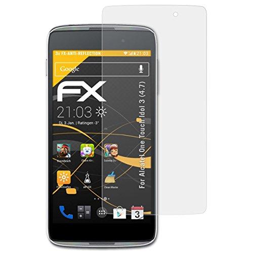 atFolix Panzerfolie kompatibel mit Alcatel One Touch Idol 3 (4.7) Schutzfolie, entspiegelnde & stoßdämpfende FX Folie (3X)