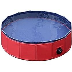 Banera de mascota - TOOGOO(R)Lavadora de piscina de bano de hidromasaje de banera para perros gatos y otros mascotas plegable de color rojo S