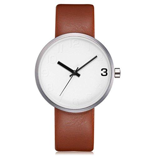 Preisvergleich Produktbild Dragon868 Damen Herren Armbanduhr Einfache Männer Runde Herren Retro Business Lederband Uhr (D)