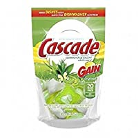Cascade Actionpacs With Gain Dishwasher Detergent 20 Ea