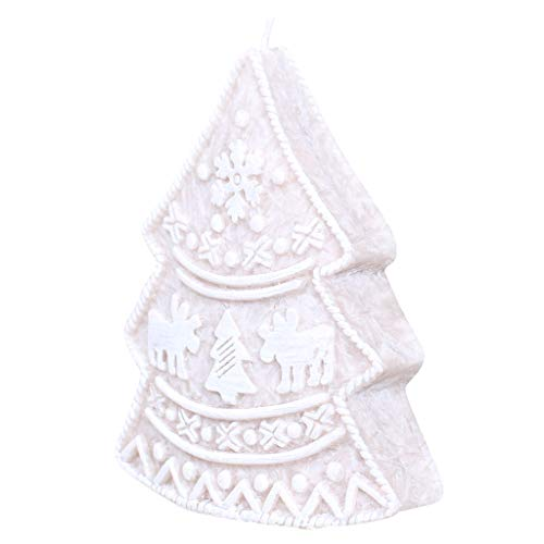 Dibor Wachskerze in Weihnachtsbaum-Form mit Marmor-Effekt -