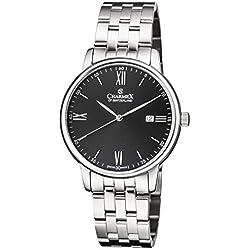 Charmex of Suiza Kyalami Reloj Hombre | 41 mm Fabricado en Suiza | Correa de Acero Inoxidable Plateado | Resistente al Agua | Carcasa de Acero Inoxidable Plateado