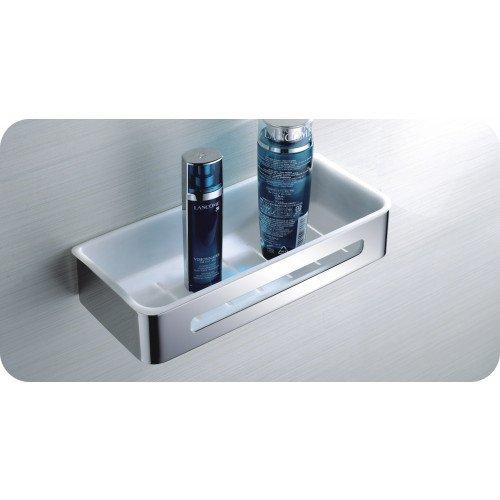Duschkorb Mio von Escara klein | Wandablage aus weißen ABS Kunststoff und robustem verchromten Edelstahl | Duschkörbe & -ablagen