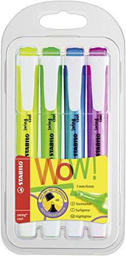 Textmarker - STABILO swing cool - 4er Pack - gelb, grün, blau, pink
