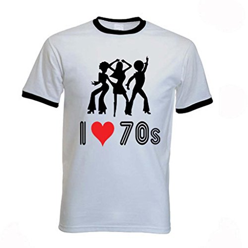 I Love The 70s Retro Premium Ringer T-shirt for Men. L to XXL
