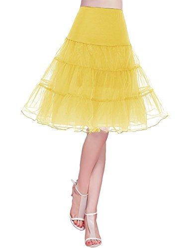 Bridesmay Organza 1950 Petticoat Reifrock Unterrock Underskirt Vintage Ballet Tanzkleid Crinoline für Rockabilly Kleid Yellow L (1950 Minze Kleid)
