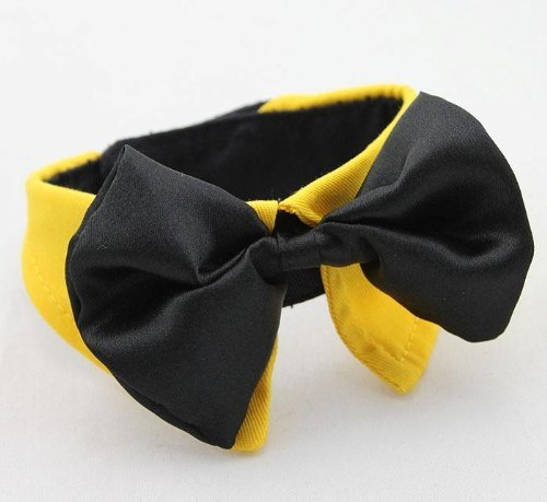 Diamondhead New Dog Bow Tie auf Hemd-Kragen für kleine / mittlere Hunde / Katzen einstellbar (Extra Large, Yellow) (Extra Small Dog Bow Ties)