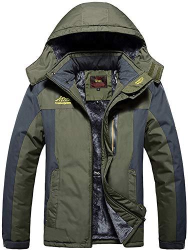 Giacca da sci in pile antivento uomo giacche softshell impermeabile cappotti invernali caldi giacca snowboard termiche casual giacche con cappuccio per trekking outdoor sport caccia verde green