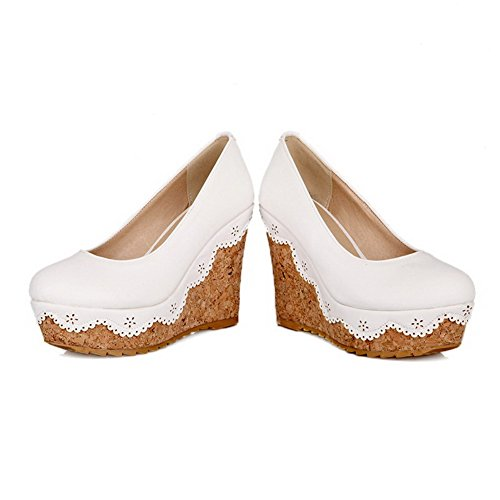 Voguezone009 Femmes Bout Rond Talon Haut Closed Toe Pull Luccichio Pure White Ballerines