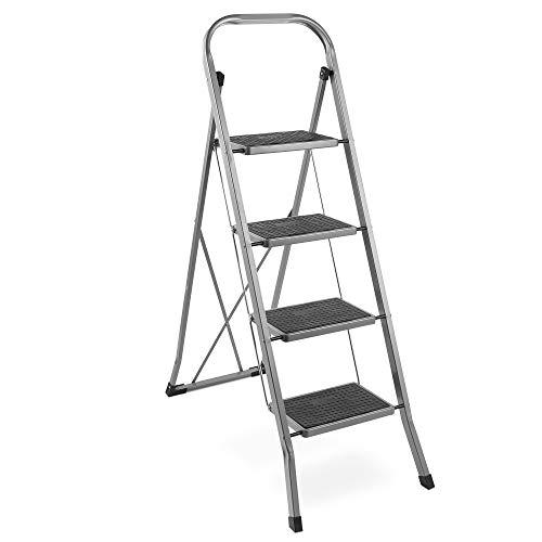 VonHaus 4-Stufige Stahlleiter - Rutschfeste Füße - Leicht Verstaubares Faltbares Design - Ideal für Zuhause/Küche/Garage