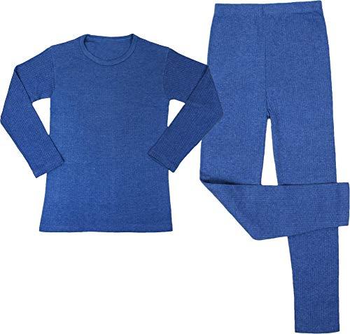 Kinder Thermo-Unterwäsche Set (Langärmligem Oberteil + Langer Unterhose) - Atmungaktiv, Wärmend und Kuschelig - ÖkoTex100 Farbe Blau Größe L/152-158