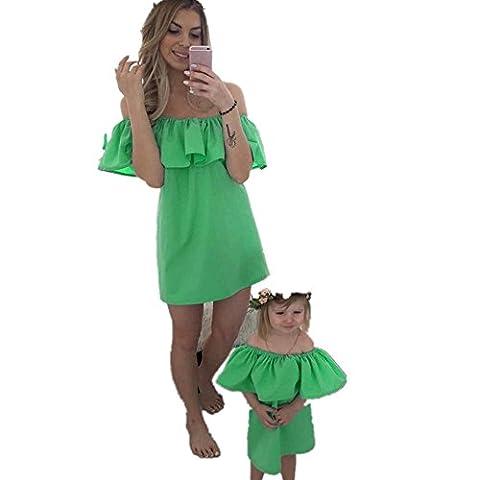 Maman Et BéBé Famille Dress,OverDose Femmes Sexy Robes Courte VolantéE à éPaules DéNudéEs (Femme:36, Vert)