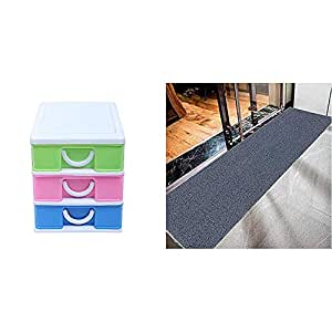 Kuber Industries Plastic Three Layer Drawer Storage Cabinet Box (Multi)-CTKTC013171 & Rubber 1 Piece Floor Mat Door Mat 2X6 Feet (Grey) Combo