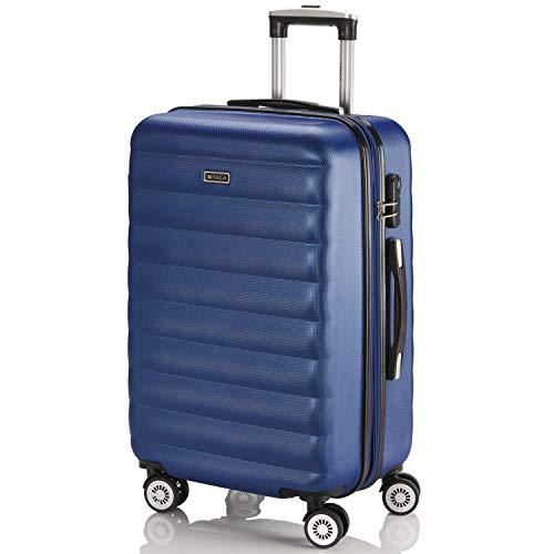 ITACA - Maleta de Viaje Rígida 4 Ruedas Mediana Trolley 65 cm de ABS. Dura Extensible Resistente Cómoda Práctica y Ligera. Calidad Marca y Precio. Estudiante y Profesional. 71260, Color Azul