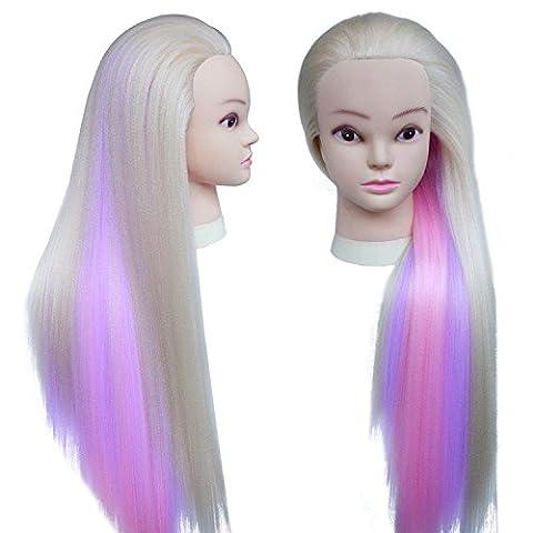 TOPBeauty tete de coiffure 65cm synthetiques cheveux Mannequin Coiffure Tetes de exercice Avec Clamp