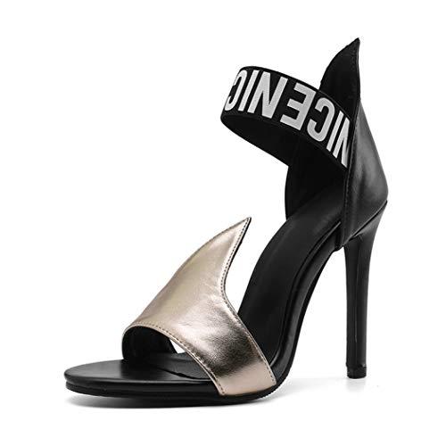 Damen Stilettos High Heel Sandalen mit offener Zehe Sexy Pumps Knöchelumwickelte Kunstleder Ladyparty Dance Drees Schuhe, Gold - Gold - Größe: 41 EU