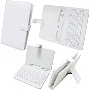 """Time2 7"""" Inch PU Leather Look Case and Qwerty USB – Marble White"""
