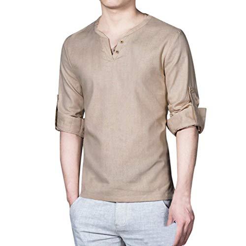 WWricotta Camisetas para Hombre Camisa de Manga Larga Suelto Lino...
