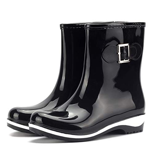 MMOOVV Women Anti Slip Half-Height Rain Boots Slip On Waterproof Rubber Rain Boots