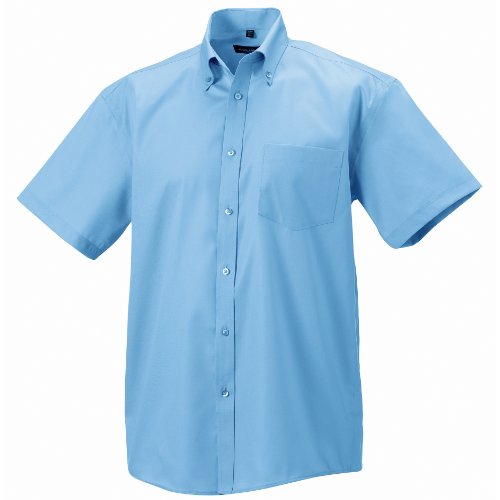 Image of Russell Collection Mens Short Sleeve Ultimate Non-Iron Shirt (17.5inch) (Bright Sky)