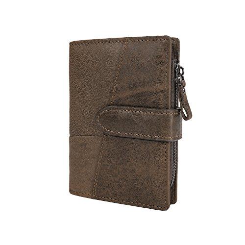 CloSoul Direct Herren Geldbörse aus achtem Leder mit Münzefach mit Reißverschluss hochformat Portemonnaie Geldbeutel khaki Braun 1