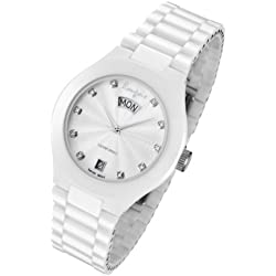 Rougois Ladies white Ceramic Dress watch With Genuine Diamonds