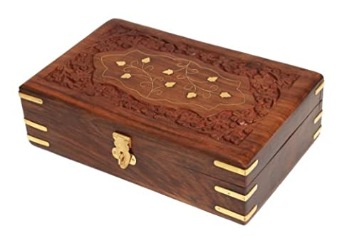 Beautiful Hand Carved Wooden Decorative Trinket Jewellery Box (20.3 X 12.7 X 6.4) Cm With Mughal Inspired Brass Inlay & Floral Carvings