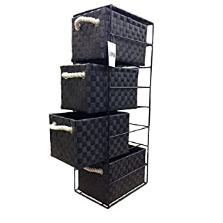 Arpan Black 4-Drawer Storage Unit Ideal For Home/Office/bedrooms (4-Drawer 18x25x65cm)