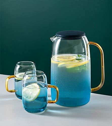 Nord Glas-Wasserkrug mit Deckel, blauer Wasserkrug (1,4 l), 2 Bechergläser, Heiß- oder Kaltgetränke, Glaskaraffe