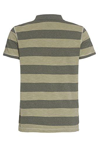 COOL CODE Herren-Poloshirt in gestreifter Melange-Optik T-Shirt,Polo,Männer,kurzarm,Streifen,Freizeit Oliv