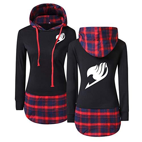Fairy Tail Sweatshirts Slim Fit Damen Plaid Panel Langarm-Kapuzenpullover-Mantel Herren (Color : Black02, Size : M) - Plaid Pullover