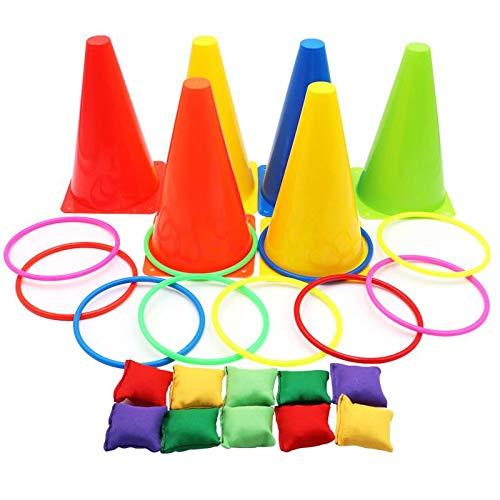 Aotoer 3 In 1 Ringwurf Spiel Karneval Combo Set Weiche Verkehrskegel Sitzsäcke mit Kunststoff Multicolor Werfen Kreis Aktivität Ringe für Kinder Outdoor Indoor-Spiele (Kunststoff Bau-kegel)