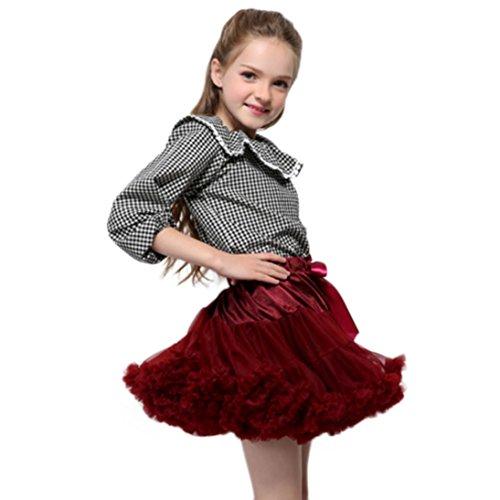 OverDose Mode Kleinkind Baby Mädchen Net Garn Prinzessin Rock Hauch Rock TuTu Rock tütü Prinzessin Skirt Weihnachten Party Rock Weihnachtskostüm(5-7T/110-120CM,A-Wine ) (Tutu Camouflage)