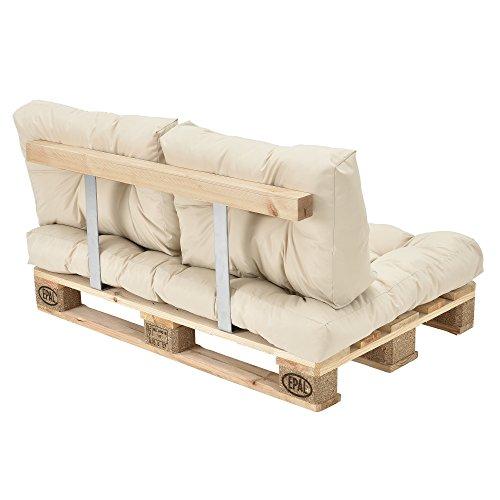 [en.casa] Palettenkissen - 3er Set - Sitzpolster + Rückenkissen [creme] Paletten-Sofa In/Outdoor - 6